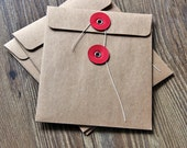 CD sleeves - natural Kraft brown, recycled  DVD, CD wedding favors, photography packaging String Tie Envelopes
