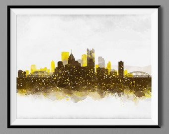 Pittsburgh Skyline - Watercolor Wall Art Print Poster - Housewarming, Home Decor, Wall Hanging, Pittsburgh Art