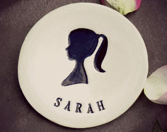 Personalized Ring Holder Wedding Gift Black Silhouette Ceramic Dish Women Head Name Pottery