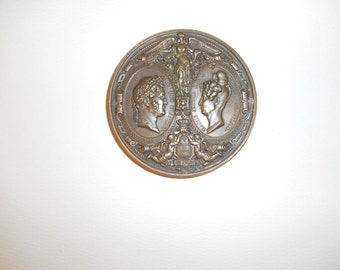One (1),  Bronze Medallion, of Louis Philippe I & Marie Amelie. Circa 1830 France.