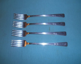 "Four (4), 7 5/8"" Silver Plated, Grille Forks (Viande), from Wm. Rogers Mfg Co / International silver, in the Revelation I  1938 Pattern."