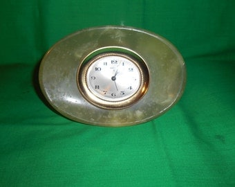 One (1), Swiza 8 Day, Alarm Clock, in Green Marble Housing, for Parts or Repair.