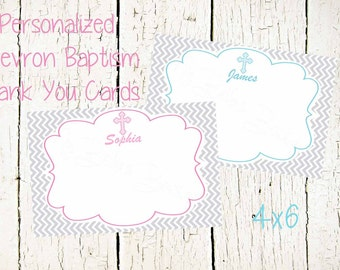 Pink OR Blue Chevron Baptism Thank You, Christening Thank You, Baptism Thank You