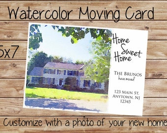 Watercolor Moving Card-Customized-5x7