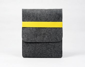 Felt iPad Pro iPad 1 2 3 4 Sleeve New iPad Air Case Custom Made iPad Cover Handmade Felt iPad Wallet Pouch with Yellow / Orange Band E1146