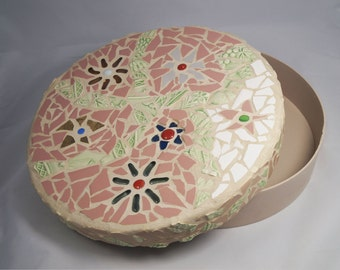 Mosaic Round Flower Keepsake Box, Wedding Hope Box, Round Box, Treasure Box, Container, Wedding Gift