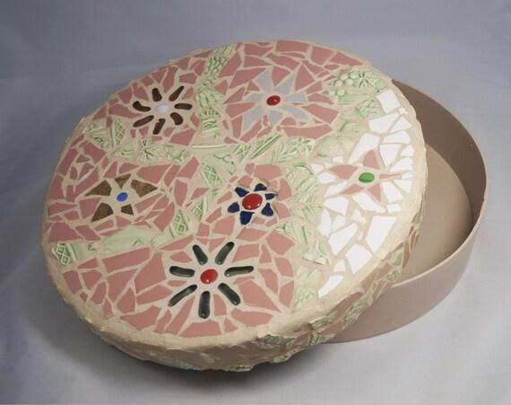 Mosaic Round Flower Keepsake Box, Wedding Hope Box, Round Box, Treasure Box, Container, Wedding Gift