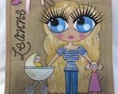 Handpainted Personalised Yummy Mummy New Baby Jute Handbag Gift Bag Hen Party Celebrity