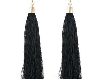 Black Tassel Earrings