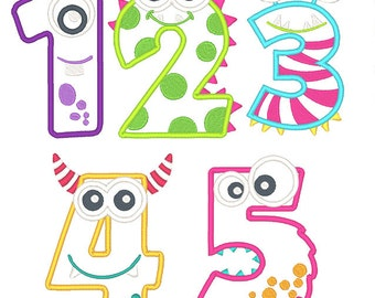 Monster Numbers Applique Embroidery Design Set- Instant Download