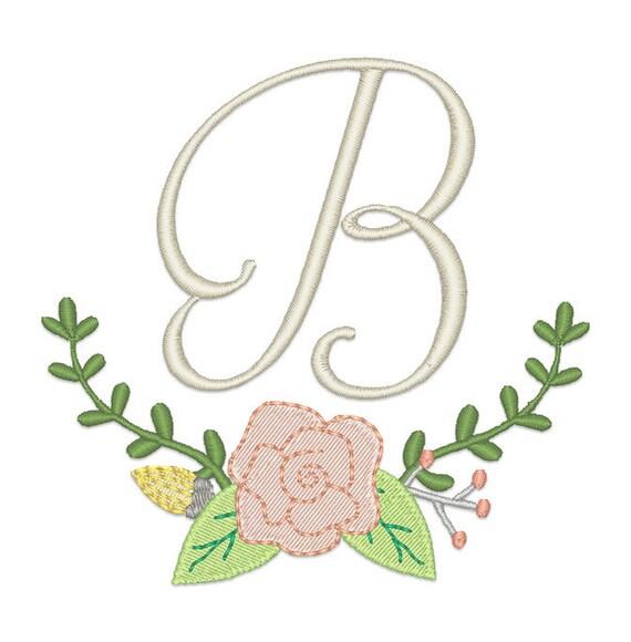 Floral Monogram Frame Embroidery Design Instant Download