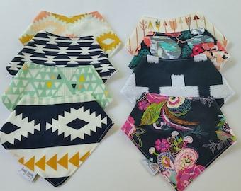 Bandana Bib Set. Bandana Bibs.Drool Bibs. Baby Bandana Bibs. Baby Scarf. Toddler Scarf. Choose your Own Fabric Custom Fabric Bandana Bibs.
