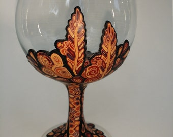 Polymer Clay Wine Glass OOAK