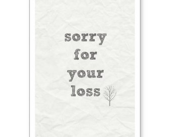 sorry for your loss, Sympathy Card, Memorial Card, Sympathy Card for Parents, Co-worker Sympathy Card, Sympathy Card for Friend, Loss Card