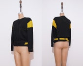 1980s Henri Bendel jacket | Vintage 80s cotton leather black green jacket