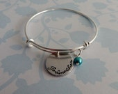Godmother Bracelet / Hand Stamped Adjustable Bracelet with Crystal Pearl / Godmother Bangle / Custom Adjustable Bracelet / Godmother Gift