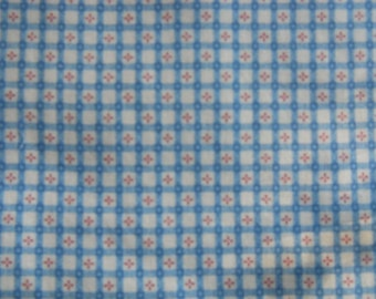 Country White ground cotton fabric, Blue checked with pink flowers, Fabric Traditions, yardage