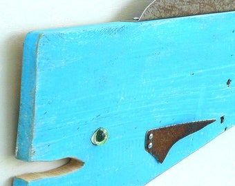 Pescado Azul #4, Garden art fish, textured reclaimed wood and recycled metal, bluefish, folk art, whimsical fish