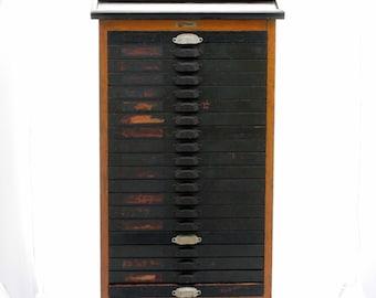 Sale 70% Off Antique Letterpress Cabinet - 20 Drawer Printers Type Cabinet w. Wooden Letterpress Letters Built in 1890