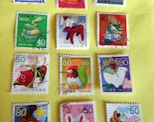 Chinese New Year Zodiac Animals: Vintage Stamps from Japan Lunar New Year //DIY// Craft or Scrapbooking Supply// Philately