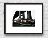 Love in New York, Brooklyn, New York, DUMBO NYC: 5x7 Matted Photo