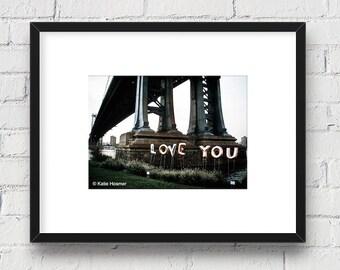 Love in New York, Brooklyn, New York, DUMBO NYC: 5x7 Matted Photo