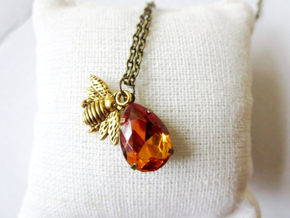 sale bee necklace honeybee jewelry flower and busy bee