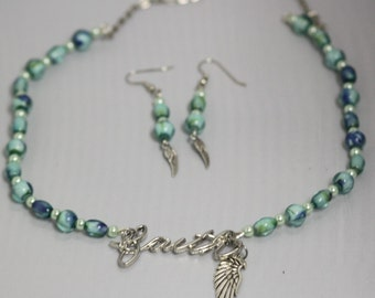 green, blue, silvertone, faith with angel wing pearl and glass bead necklace and earring set