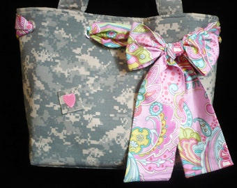 Army Tote Bag - Military Bag - Camo - Bags with Bows - Handmade - Shoulder Bag - Handbag - Purse