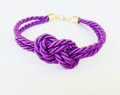 Bridesmaid gift - Small purple silk Knot Bracelet - tie the knot bracelet, nautical bracelet, wedding gift, baby shower gift, beach wedding