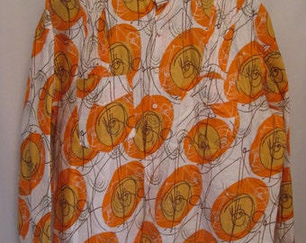 vintage, mid century atomic orange swirl mens button front long sleeve shirt size XL