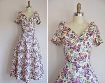 50s Heavens Garden dress/ vintage 1950s floral sundress/ 50s cotton bright floral dress