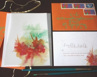 Geometric Watercolor Wedding Invitation