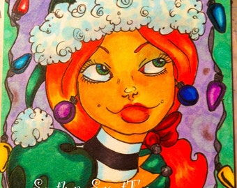 Christmas Elf Girl ACEO Original