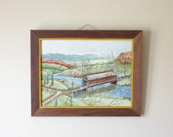 Vintage Covered Bridge Oil Painting - Rustic Decor