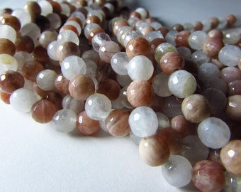 White Moonstone and Orange Brown Sunstone Mixture Faceted Round Beads 5mm - 6mm