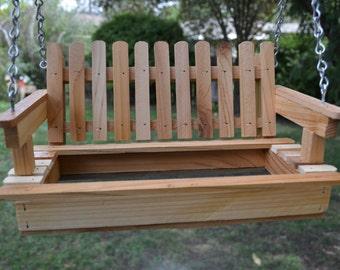Cedar Swing Bird Feeder, Porch Swing Bird Feeder, Garden Decor, Bird Lovers, Decorative Feeder, Rustic Feeder, House Warming Gift