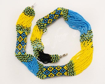 Patriotic Ukrainian ethno-Gerdan necklace yellow and blue beads.