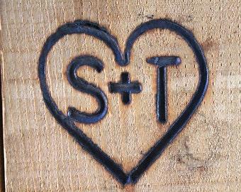 Steak Size Branding Iron, Custom Wedding Heart and Initials Brand