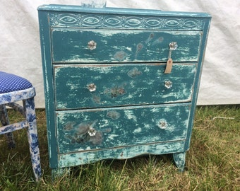 Turquoise Decoupaged 3 Drawer Chest, Decoupaged, Painted Furniture, Shabby Chic