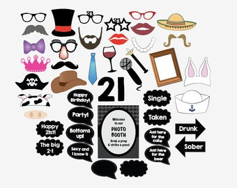 21st birthday photo booth props PRINTABLE twenty first party photobooth 21
