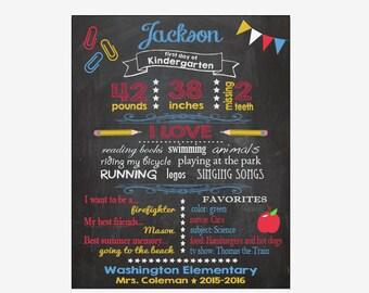 First Day of School chalkboard sign printable CUSTOMIZED digital 1st Day Kindergarten Memories Chalk Board poster