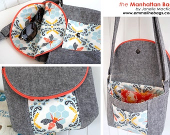 The Manhattan Bag - PDF Sewing Pattern - Shoulder bag, 2 Sizes PLUS Eyeglasses Case