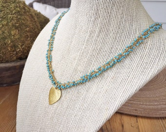 Turquoise Rosary Chain with Leaf Charm