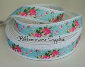 """7/8"""" Ribbon by the Yard-Vintage Floral Aqua pink hot pink roses lace grosgrain-Hair bows sewing crafts WHolesale by Ribbon Lane Supplies"""