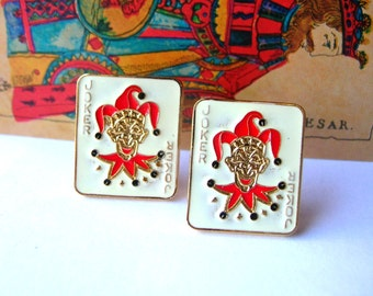 Vintage Joker Earrings - Vintage Jester Earrings - Playing Cards Earrings - Playing Cards Jewelry - Joker Jewelry - Vintage Earrings