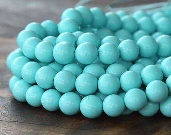 Faux Turquoise Beads, Light Blue, 6mm Smooth Round - 15 inch Strand - eGR-IT006-6