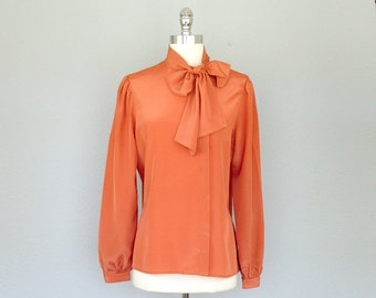 Vintage Blouse, Neck Bow Blouse, Secretary Blouse, Bow Blouse, 1970s Blouse, 70s Blouse, Medium, Large, Dark Coral