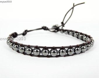 Handmade Natural 6mm Black Hematite Gemstone Smooth Round Beads Dark Brown String Leather Wrap Bracelet Silver Plated Button Closure