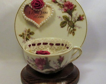 Beautiful Red Rose Covered Teacup and Plate with Wooden Stand
